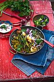 Wild rice with okra, cauliflower and coriander (vegan)