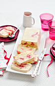 Rhubarb and rose semi-freddo