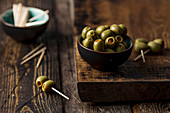 Green olives with red paprika