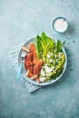 Chicken goujons in panko breadcrumbs with crunchy salad