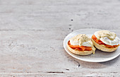 English Muffins with poached eggs and salmon