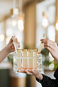 Drinks serviert in Reagenzgläsern