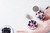 Chia pudding with strawberry smoothie and black currants