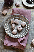 Homemade marshmallows with blueberry jam