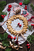 Gingerbread cookie wreath for Christmas