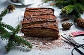Vegan nougat tree cake for Christmas