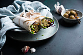 Vegan wraps with raw salad, falafel and chickpeas