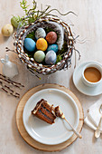 A basket of dyed Easter eggs, coffee and cake
