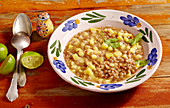 Lentil soup with pineapple, lime and bacon (Mexico)