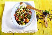 Lentil salad with goat's cheese, vegetables, arugula and vinaigrette (Bulgaria)