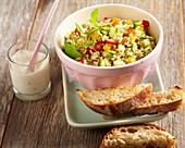 Vegetarian bulgur salad with a yoghurt and garlic dip