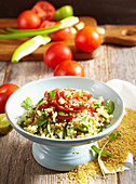 Arabic tomato bulgur salad with cucumbers and mint