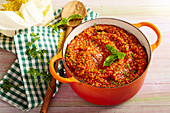 Vegetarian bulgur bolognese in a saucepan