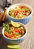 Vegan bulgur and carrot salad with peppers