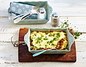 Ticino polenta minced meat gratin in a baking dish (Switzerland)