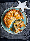 Leek and scallion cake