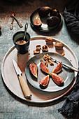 Fresh sliced figs with walnuts