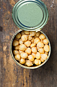 Chickpeas in an opened can (top view)