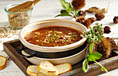 Swiss lentil soup with brown lentils and chestnuts (Switzerland)