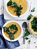 Kumara Soup with Kale Chips
