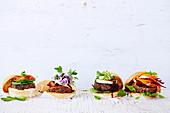 Moroccoan Beef Burger, BBQ Bacon Cheese Burger, Beef Teriyaki Burger with Pineapple, Minty Beef and Beetroot Burger
