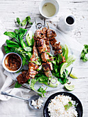 Pork Satay Skewers with Coconut Rice