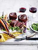 Prosciutto-Wrapped Beef with Pea Mash