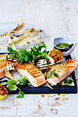 Salmon with Walnut Pesto and Parsnip Chips