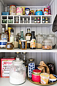 Groceries on kitchen shelves
