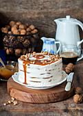 Caramel walnut layer cake