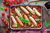 Chicken sausages with vegetables and tomato sauce