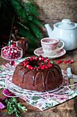 Chocolate bundt cake with cranberries