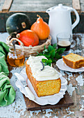Pumpkin cake with vanilla cream