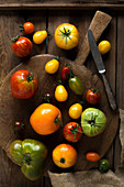 Several tomato varieties on an old wooden background