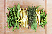 Various types of beans with herbs