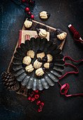 Bear paw biscuits in a metal bowl