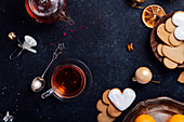 Teatime with heart-shaped ginger cookies and tangerines
