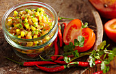 Tomato and mango salsa with fresh coriander, lime, honey and cumin