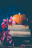 Pumpkin on top of a book stack