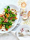 Grilled Nectarine, Prosciutto and Pistachio Salad