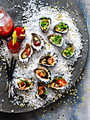 Bloody Mary Oyster Shots, Cucumberm Ginger and Sesame Oysters, Passionfruit and Lime Oysters