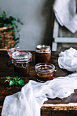 Jars of caramel sauce