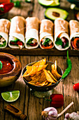 Mexican Tortillas with nachos and vegetables