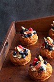 Pastries with fruit and cream
