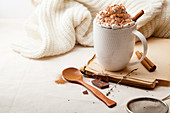 Cup of Scandinavian hot chocolate with cinnamon, whipped cream and chocolate
