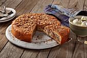 Gluten-free cinnamon bun cake, sliced