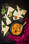 Chilli fava bean dip with toasted tortilla wraps