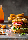 Veggie Vegan Burger made with cauliflower beans and pickled red onions