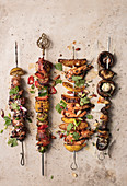 Various grilled skewers