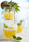 Non-alcoholic pineapple punch in glasses